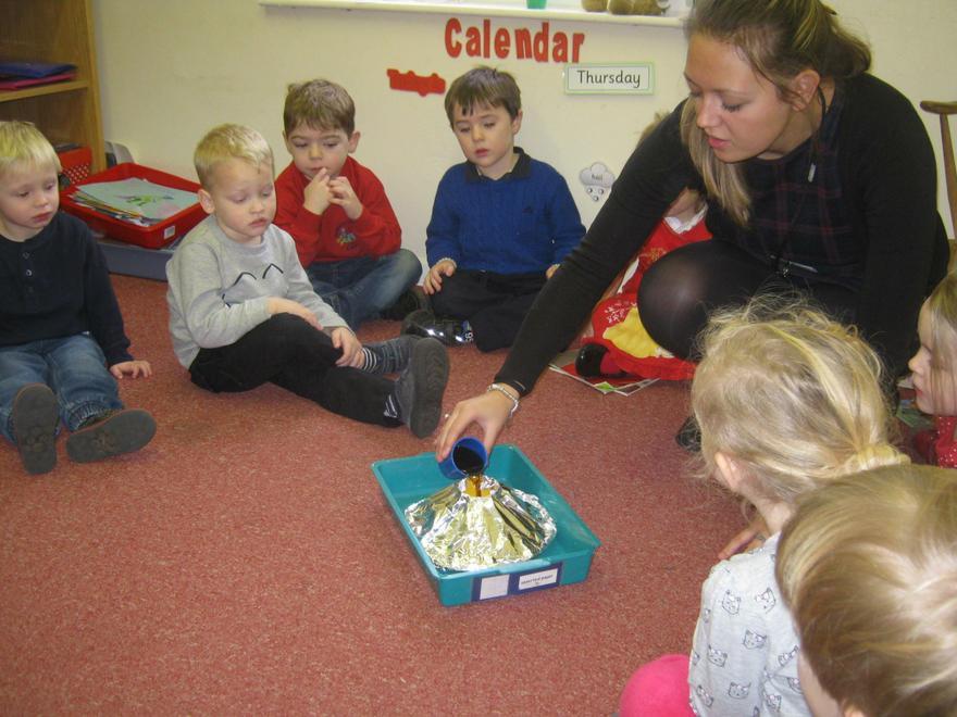 Miss Leeman made a Volcano.