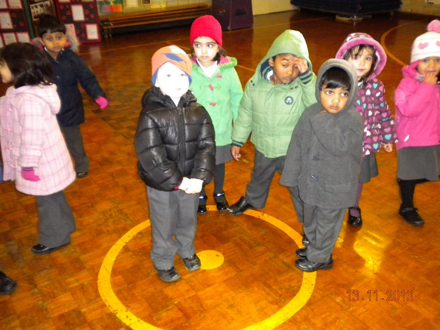 Nursery learning about shapes in the school