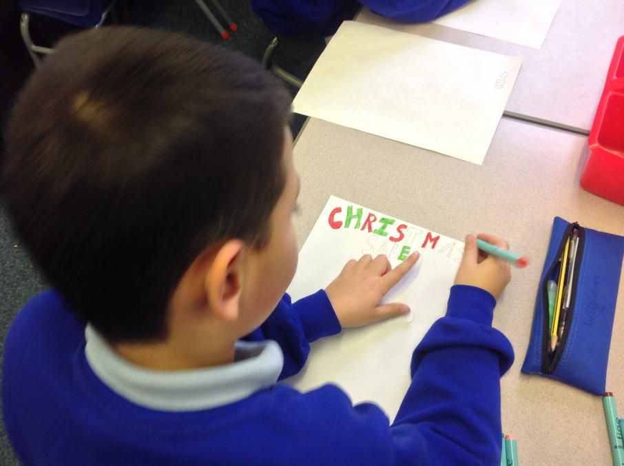 We are creating posters to advertise our sale.