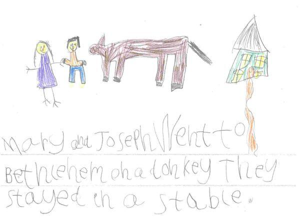 Mary and Joseph went to Bethlehem on a donkey.