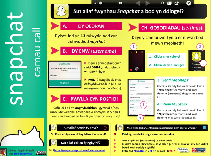 Canllaw Diogelwch Snapchat