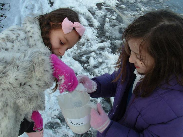 Measuring different amounts of snow.