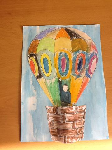 Using pastels for the balloon!