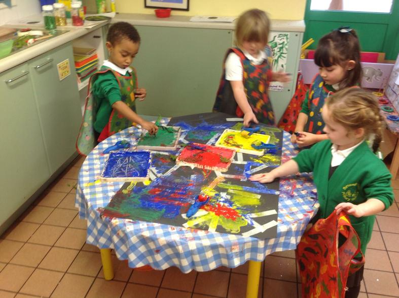 Using lines and shapes to create a Rangoli pattern