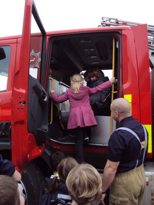 A special sit inside a fire engine.