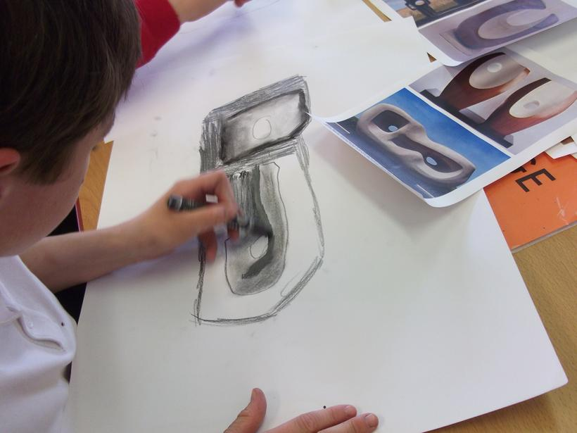 We made large scale drawings in charcoal and chalk