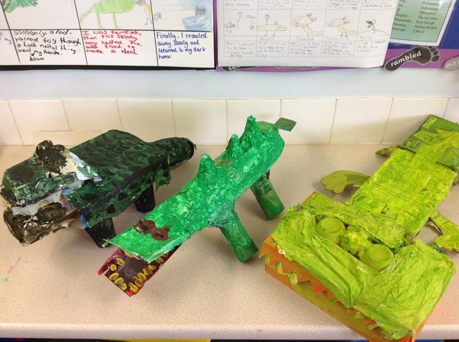 In groups, we made Krindlekrax the crocodile.