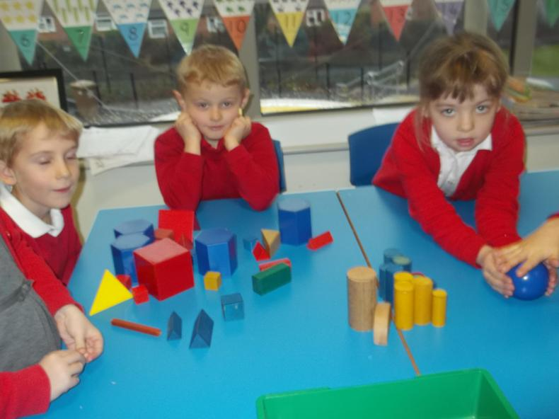 We sorted and played games with 3D shapes