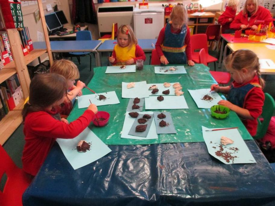 Next we painted our prickly hedgehogs brown