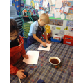 We are making tea-stained paper...