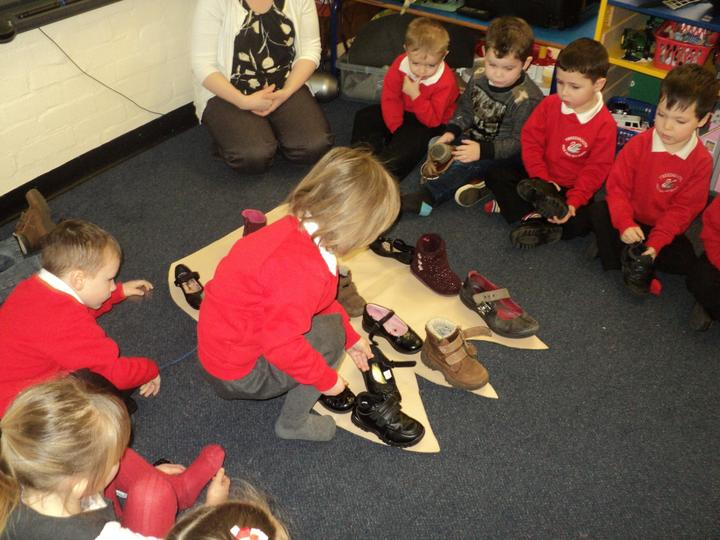 Measuring with shoes.