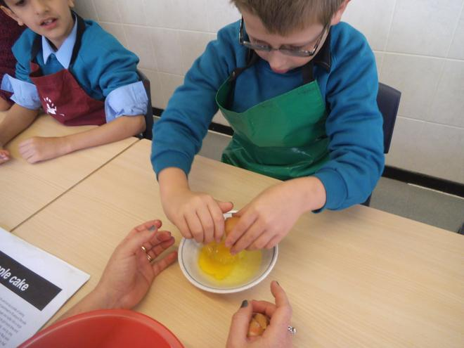 Making a raspberry ripple cake