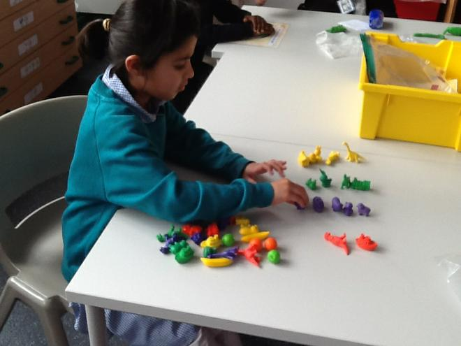 Sorting different items by colour and type