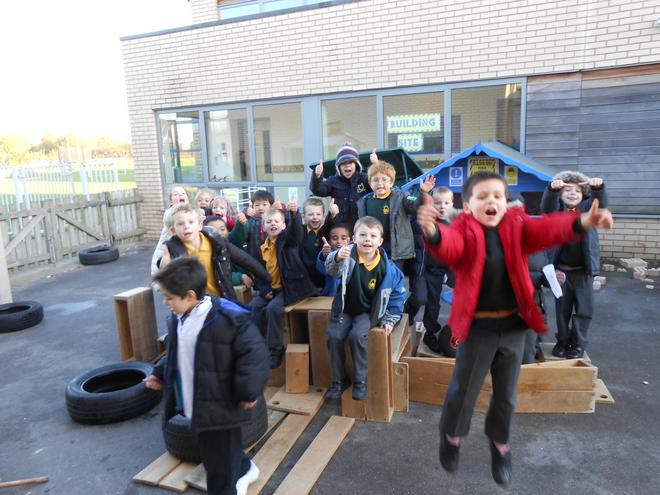Building our own castle for our outside learning