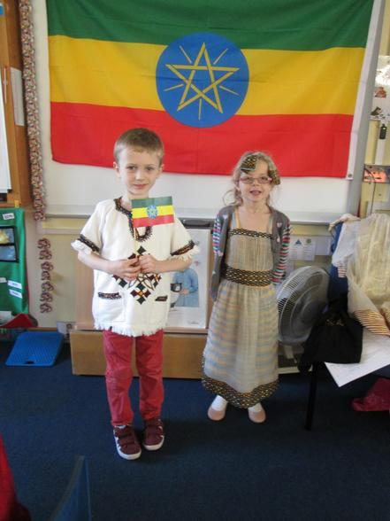 Eva and Joshua in traditional Ethiopian clothes