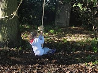 enjoying the rope swing