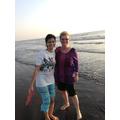 Gauri and I paddling in The Arabian Sea.