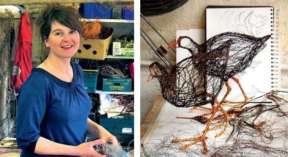 Wire artist, Celia Smith, in her studio.