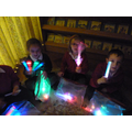Using the light toys.
