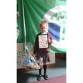 Mayzee with her prizes