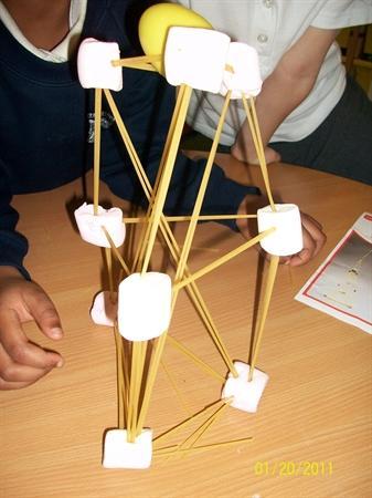 A rocket made from marshmallows and spaghetti !