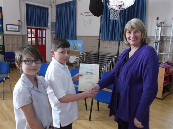 Receiving our Mental Health competition prizes