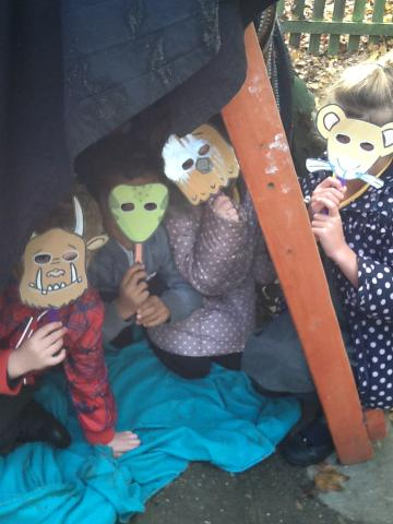 Acting out the story with masks