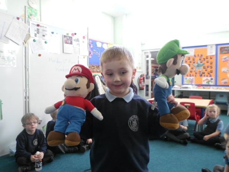 Mario and Luigi came into school.