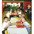 School dinners in the dining room.