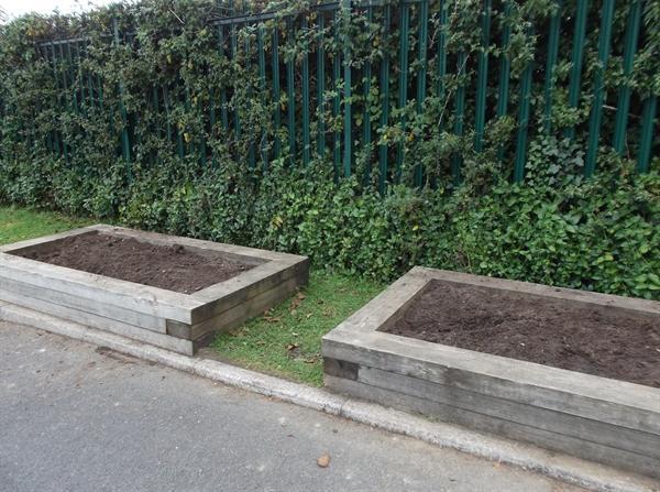 Empty flowerbeds