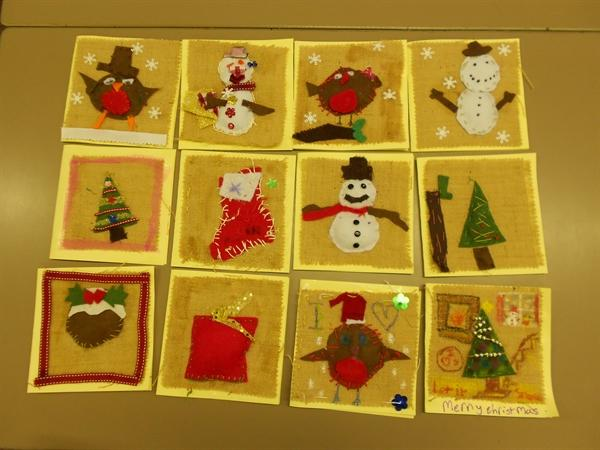 Our xmas cards made after an artist's visit
