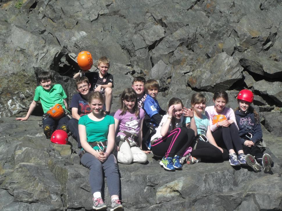 The rock climbing group after a days climbing.