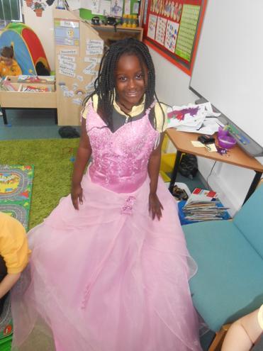 Wearing a princess dress- she left it at school!
