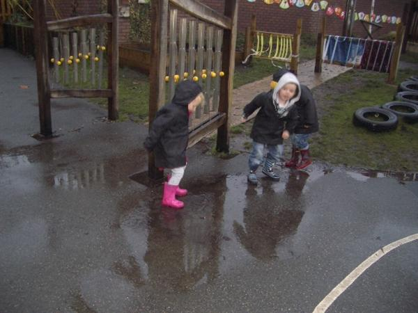 We love splashing in the puddles wearing wellies.