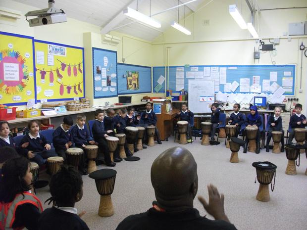 Year 1 are learning West African drumming skills