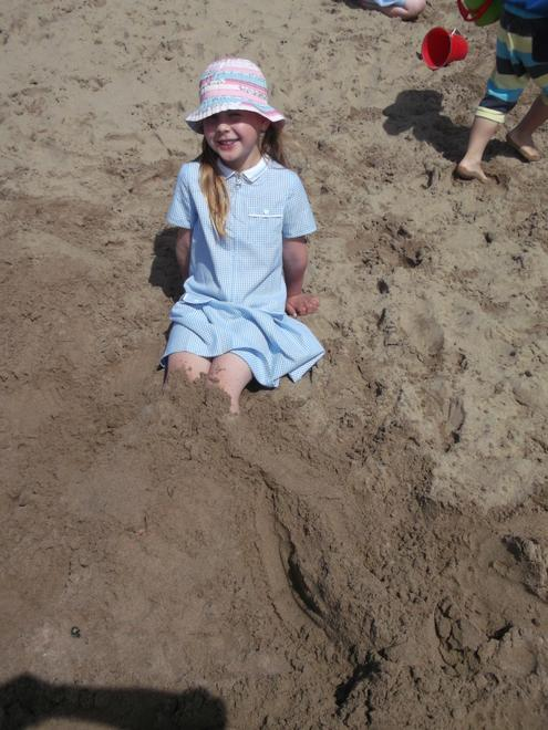 We buried our feet in the sand!
