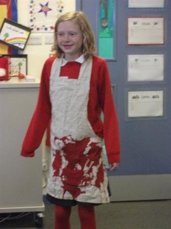 Lottie covered head to toe in blood!!!