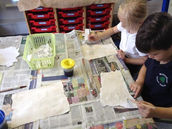 Creating old style paper for our diaries
