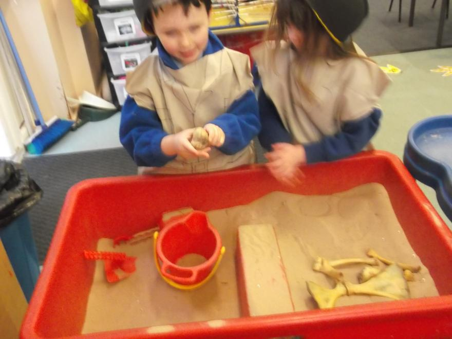 We tried to put the bones into a skeleton shape!