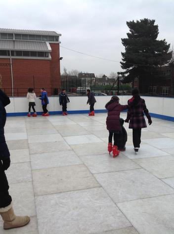 Ice skating at the High School.