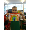 Lennon painted a colourful rainbow.