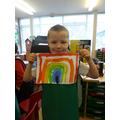 Lennon painted a colourful rainbow.