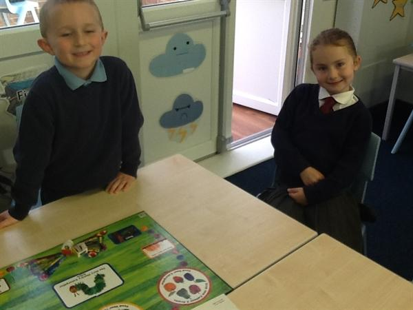 Playing the Very Hungry Caterpillar board game!