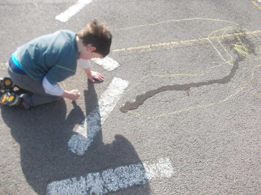 We drew around our puddles.
