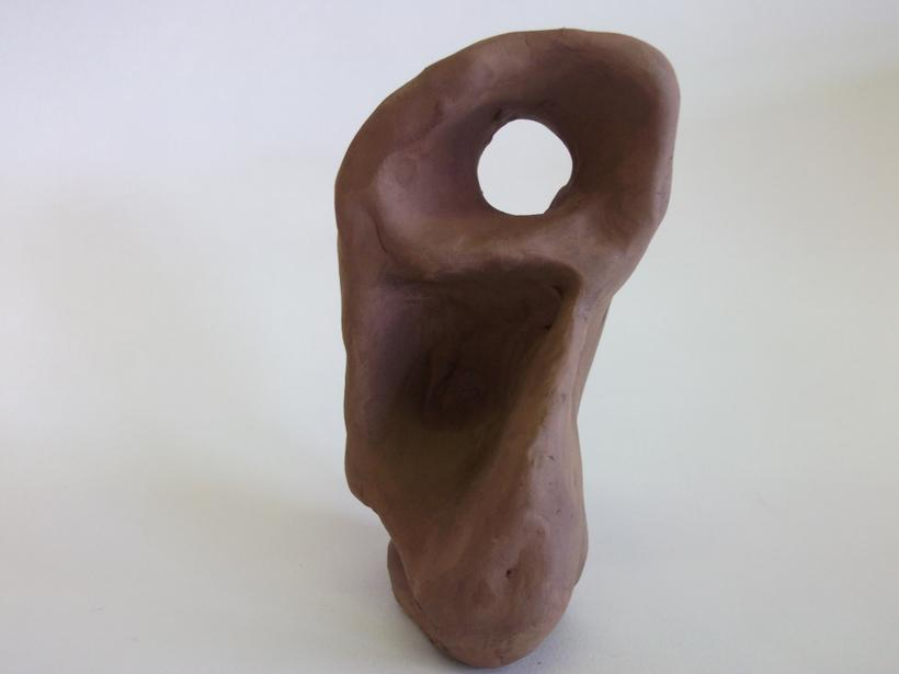 Clay sculpture inspired by Barbara Hepworth