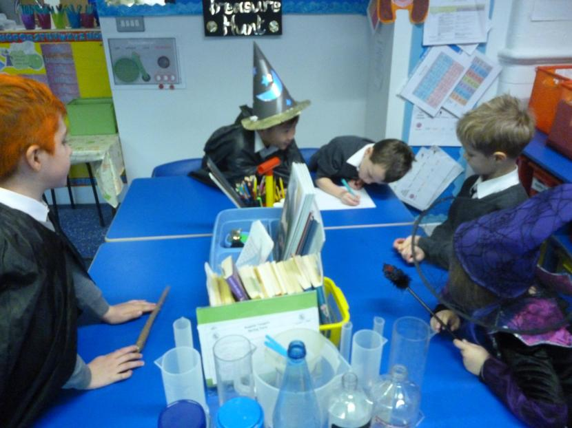 Brainstorming our potions in teams