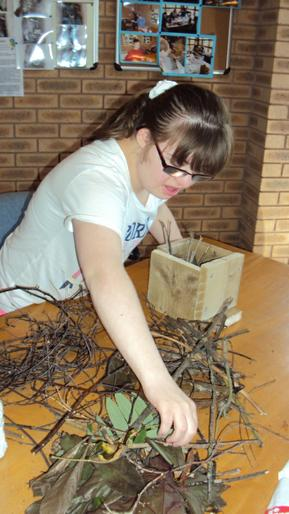 Students found their own materials to make bug hotels