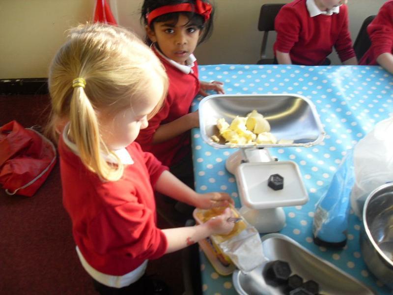 Baking Gingerbread Men - weighing the ingredients