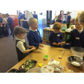 Making dinosaur nests - yummy!