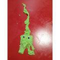 Making aliens out of playdough.